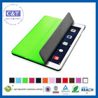 C&T Latest pure color smart cover for ipad air leather case luxury