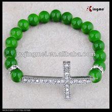 8mm green glass beads rosary bracelet with sideway cross