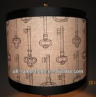 "linen printing lamp shade,1"" fold trim"