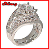 Antique Style Queen Victoria 2.94 Ct. Cz Cubic Zirconia Platinum Plated Engagement Bridal Wedding 2 Pc. Ring Set