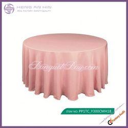 wholesale papaya punch polyester visa round tablecloths for wedding manufacturer