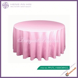 wholesale pink polyester visa round tablecloths for wedding manufacturer