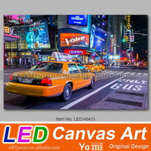Flickering New York Cityscape Light Up LED Canvas Painting of Car