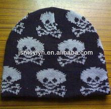 Men jacquard winter knitting beanie hat ,factory