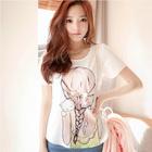 2014 Summer Fashion Women big Sparkling Diamond Beauty Bow O-neck Short-sleeve Chiffon Shirt Blouse SV001491