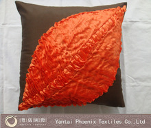 orrange brown Ribbon embroidery cushion cover, embroidery designer cushion, handmade embroidered cushion covers