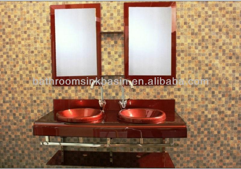 hoogglans wit mdf badkamermeubel, voetstuk glas wastafel en glas ...
