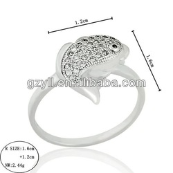 hot sale jewelry 2014 new design 925 Sterling silver ring goldfish design