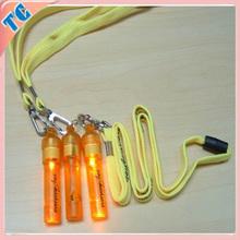 Flashing led whistle on lanyard with light