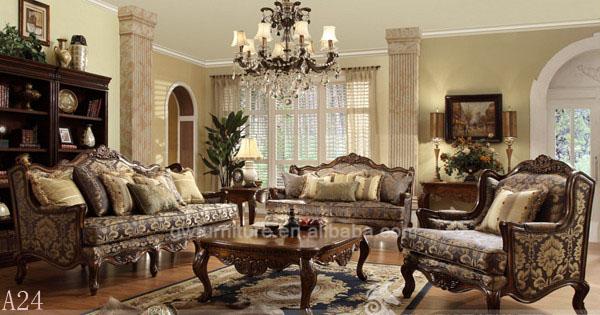 Moldura de madeira s lida couro e tecido sof moldura de - Muebles de salon antiguos ...