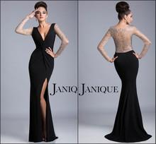 2014 Elegant Black Sheath V-Neck Chiffon Dress With Long Lace Sleeve Ruffled Slit Evening Dress