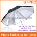 """Venta al por mayor precio de paraguas de la fotografía de estudio negro plata 43"""" paraguas de flash"""
