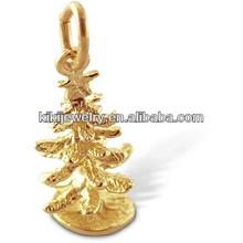 cheap christmas ornament mini gold christmas tree charm
