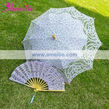Antique lace parasol and fan for sale in violet color