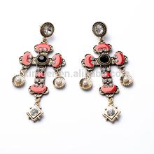 2014 Western fashion alloy enamel crystal pearl cross earrings