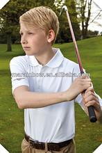 95% nylon ,5% spandex boys white plain performance moisture wicking polo golf shirts