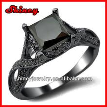 925 sterling silver 2.23carat black gold plating 2014 fashion men's wedding ring,ring with black stone