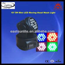 mini 18*3W led moving head wash stage/ studio/ Stage/ Club/ disco/ DJ lighting equipment