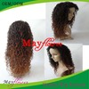 Short curly lace front wigs/U part wig virgin brazilian hair two color/natural color/lighter color