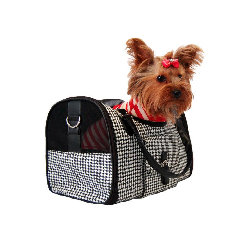 Soft Canvas Portable Dog Houndstooth Carrier Pet Travel Bag