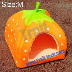 Wholesale Orange Strawberry Style Design Pet Dog /Cat/ Rabbit Bed Indoor House Kennel pet house