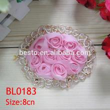 BL 0183 handmade hot design cheap mesh lace chiffon rose trim fabric flower applique for dresses