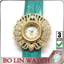 woman watches 2014, ladies/jewelry diamonds/brass case/japan movement/genuine leather strap/IPG/3 atm/quartz