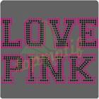 Love Pink Rhinestone Applique For bridal sash applique