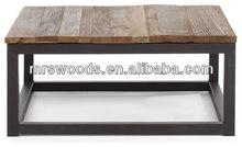 reclaimed wood top metal frame coffee table