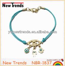 2014 hamsa hand bracelet rubber band bracelet with evil eye pendant