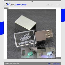 crystal glass led light usb flash drive ,corporate gifts pen drive ,4gb 8gb engraved custom usb stick