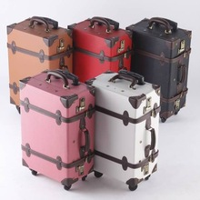 Japan wholesale black camel pink red white travel bag luggage 4 wheel leather made of PVC