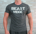 Beast Mode Fitted Muscle T-Shirt. Gym t-shirt. Bodybuilding t-shirt. Charcoal