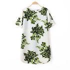 Big Floral Printed Short-Sleeved Crepe Shift Dress