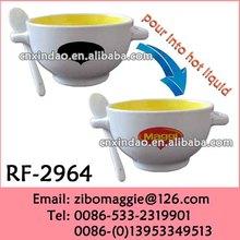 Colored Porcelain Mug with Two Ears for Promotional Maggi Soup Mug