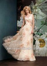 V- pescoço tule espaguete uma linha flor champagne casamento vestidos de flores de tecido para vestidos