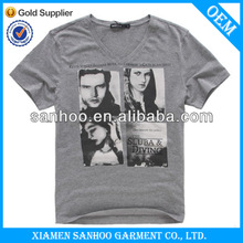 Top Quality High End T-Shirts Custom Deep V Neck T Shirts For Men With Fashion Design