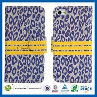 C&T Leopard foil flip belt clip leather case for iphone5