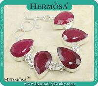 Genuien Teardrop Cherry Ruby 925 Sterling Silver Women Dress Bracelet Y810