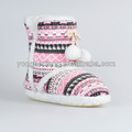 Handmake zapatos de bebé de lana para hacer punto botas de nieve niños/los niños bola de pelo de las niñas