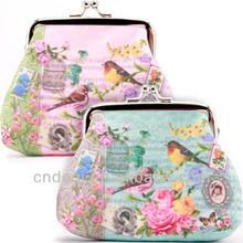 BIRD&ROSE SNAP CLASP PURSE Floral Bag Case Coin Pocket Holder Wallet Gift
