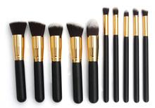 10 pcs golden casual natural make up brush