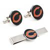 Custom Funny metal Mens Fashion branded Cufflinks tie clips set