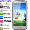"HTM T9500 with 5.0"" SC6820 Mali-300 854x480P 1.2GHz Android 4.2 256MB RAM 256MB ROM 1800mAh 3.2MP Cheap Android Phone HTM T9500"