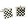 Custom CZ grid silver cufflinks