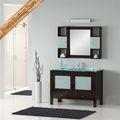 de madera maciza totalmente montado unidad de la vanidad y lavabo de cristal templado