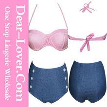 Pink Polka Dot High-waisted Bikini Swimwear hot sale