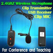 portable 2.4GHz tie clip wireless microphone collar clip mic