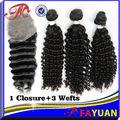 aliexpress hot venda natural cor original do cabelo virgem brasileira pacotes com o fechamento do laço