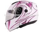 Pink Butterfly Flip Up Modular Motorcycle Full Face Street Helmet